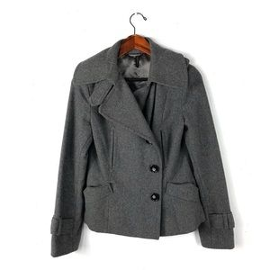 Topshop 10 peacoat gray wool double breasted knit